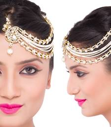 Buy Precious Designer 3 Line Matha Patti For Wedding Gold Finishing with Pearl and Stone in White eid-jewellery online