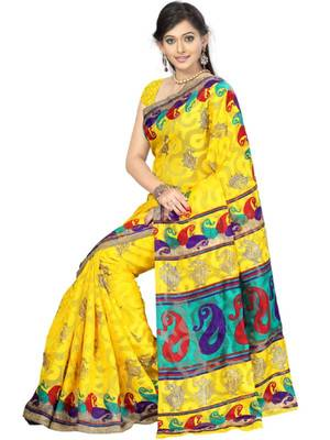 Kalazone Cotton Nett Jaquard Designer Prints Saree-S9381/S6