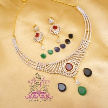 American Diamond Changeable Necklace Set
