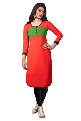 Red Georgette Printed Stitched Kurti