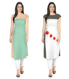 Green and white faux crepe printed stitched kurti