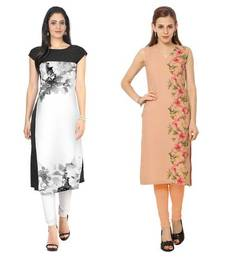 White and peach faux crepe printed stitched kurti