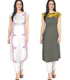 White and grey faux crepe printed stitched kurti