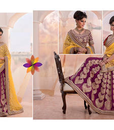 Buy Yellow and purple embroidered net saree with blouse lehenga-below-3000 online