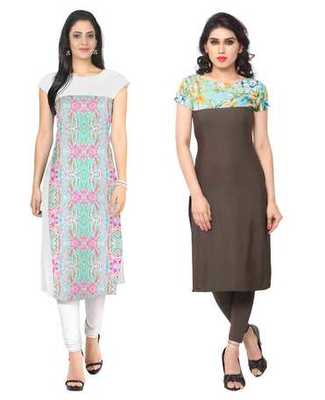 White and brown faux crepe printed stitched kurti