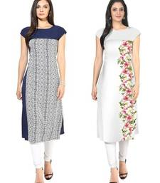 Blue and white faux crepe printed stitched kurti