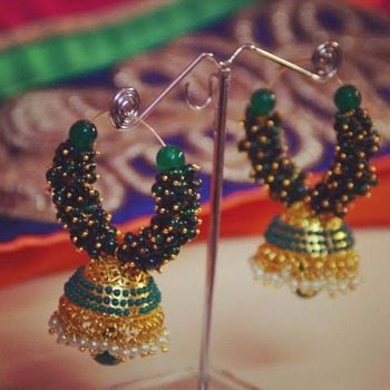 Green Jhumki Hoops
