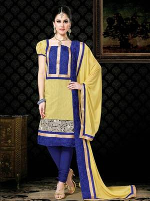 Kalazone Blue,Yellow Chanderi Silk Salwar Kameez D8243/S3