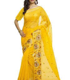 Buy yellow embroidered net saree With Blouse great-indian-saree-festival online