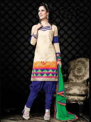 Kalazone Green,Blue,Beige Chanderi Silk Salwar Kameez D8250/S3