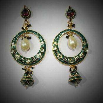 Meenakari Baali Danglers with Kundan (Pearl Traditional Green)