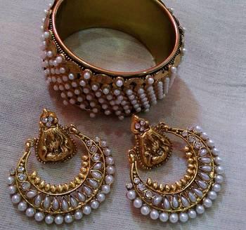 Designer Moti Kada with Ram Leela Earings
