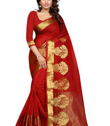 Buy red woven cotton poly saree With Blouse south-indian-saree online