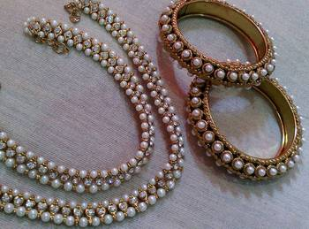 Designer Pearl  Kada with Pearl  Anklets