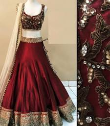 Buy Maroon embroidered benglori silk unstitched lehenga choli lehenga-choli online