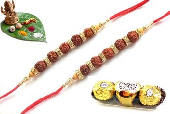 Maroon different stone beads and metallic casting rakhi with chocolates