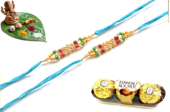 Multicolour different stone beads and metallic casting rakhi with chocolates