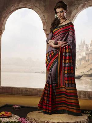 Wine Bhagalpuri Printed saree