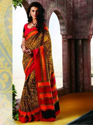 Yellow Bhagalpuri Printed saree