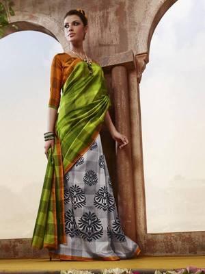 Green Bhagalpuri Printed saree