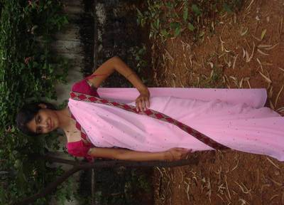 Embroidered Baby pink Georgette sari