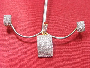 Rectangular shaped Pendle Set of tightly packed American Diamonds