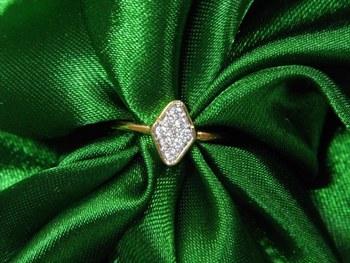 Brick Shaped golden look American Diamond Finger Ring