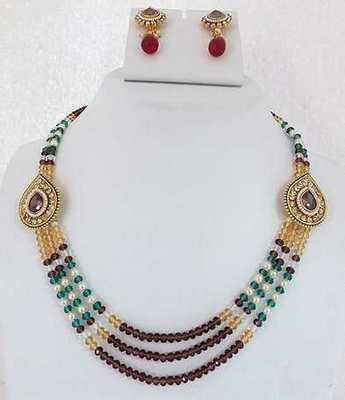Three Line Crystal Multi Necklace Set