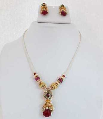 White Beads Maroon Necklace Set