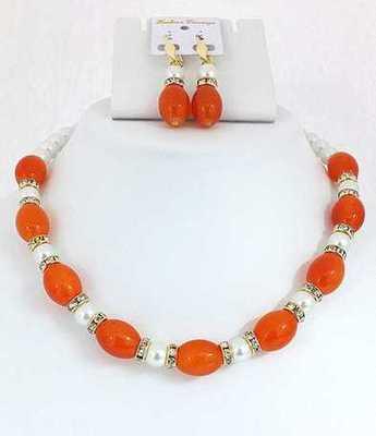 Moti Orange Necklace Set