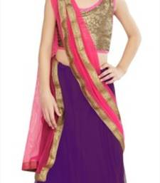 Buy Purple embroidered dupion silk kids lehenga choli kids-lehenga-choli online