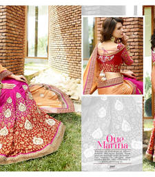 Buy multicolor embroidered pure bemberg saree With Blouse party-wear-saree online