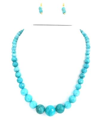 Semi Precious Ferozi Color Necklace Set