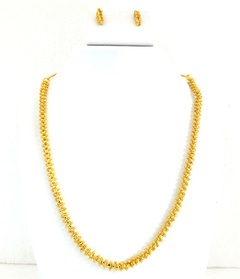 Fancy Gold Plated Long Chain Set