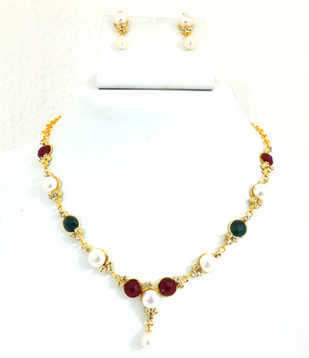 Pearl Ruby Emerald Necklace Set