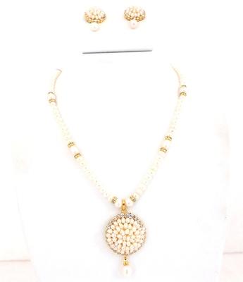 Pearl Button Stone Chakri  Pendent Set