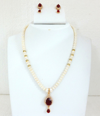 Beautiful Ruby Pearl A.D Pendent Set