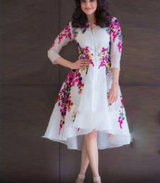 Buy Off white georgette embroidered stitched kurti georgette-kurti online