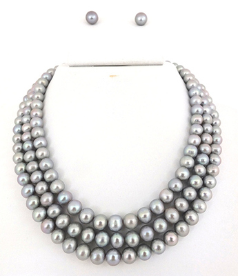 Round Three Line Silver/Grey Pearl Set