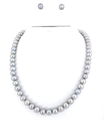 Round  Silver/Grey Pearl Set