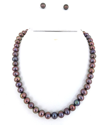 Round Grey Pearl Necklace Set