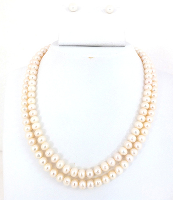 Two Lines Fresh Water Pearls Set