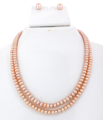 Two Line Peach Colour Button Pearl Set