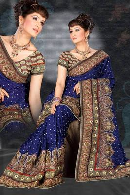Blue Georgette With Antique Sequence Work Saree 837