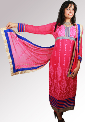 Pink and Blue Straight Fit Salwar Kameez with Resham Thread Work