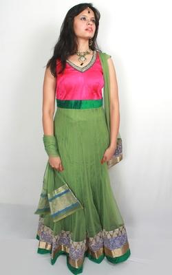 Pink and Green Anarkali with Kundan Work