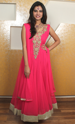 Hot Pink Italian Net Anarkali with Shimmery Border Lace