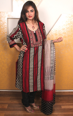 Red and Black Cotton Salwar Kameez with Hand Block Print
