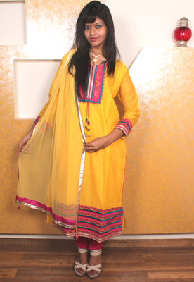 Yellow and Pink Churidaar Kameez with Embroidered Yoke