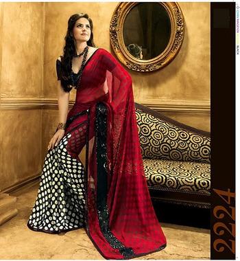 91ee53bc22 Black & White With Red Georgette Zareen Khan Saree 2224 - Rajshri Fashions  - 148133